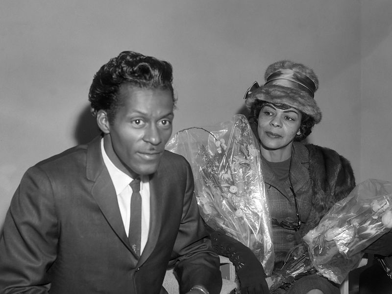 Chuck Berry with his sister Lucy Ann in 1965.